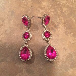 Beautiful Pink & Clear Crystal Tear Drop Earrings